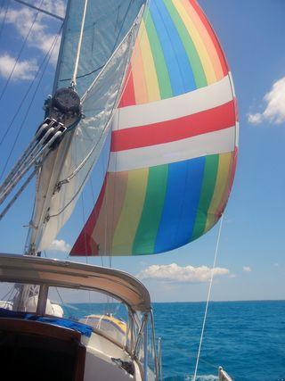 Spinnaker sailing in the Bahamas