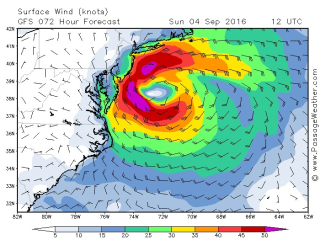 Hermine forecast wind strengths