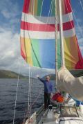 Spinnaker sailing Loch Lochy