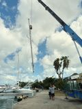 Mast being moved