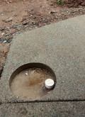 Exposed aggregate with rain drain