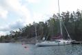 Sailboat on a mooring buoy