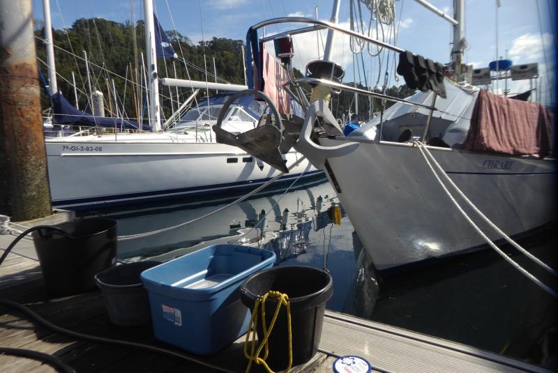 Washing Buckets on the dock