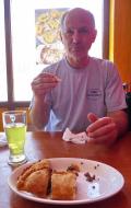 GG eating Chebureki