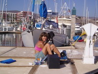 Sewing on the dock
