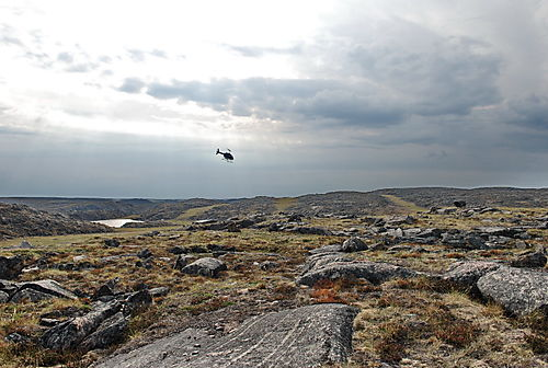 Scenery with heliopter